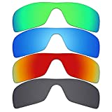 Mryok 4 pares de lentes polarizadas de repuesto para gafas de sol Oakley Batwolf – negro/rojo fuego/azul hielo/verde esmeralda
