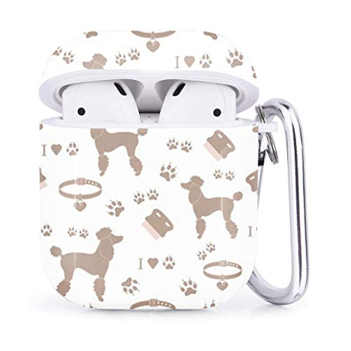 Compatible with AirPods 2 and 1 Shockproof Soft TPU Gel Case Cover with Keychain Carabiner for Apple AirPods Silhouette Dino Print