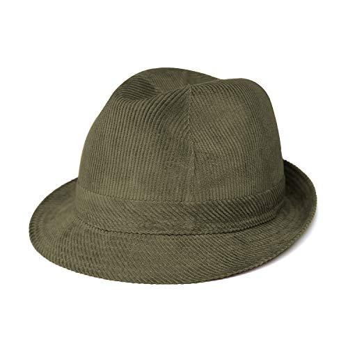 fiebig Westminster Sombrero de cordn | Trilby para Mujer y Hombre de algodn | en Muchos Colores y tamaos | Fedora con Banda Interior y Forro de Malla (60, Verde Oliva)