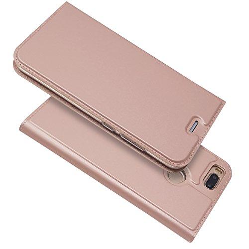 Copmob Funda Xiaomi Mi A1 Funda, Slim Case de Estilo Billetera Funda de Cuero,Carcasa PU Leather con Interna TPU Silicona [Función de Soporte][Ranura para Tarjeta/Billetera] [Cierre Magnético]-Rosa