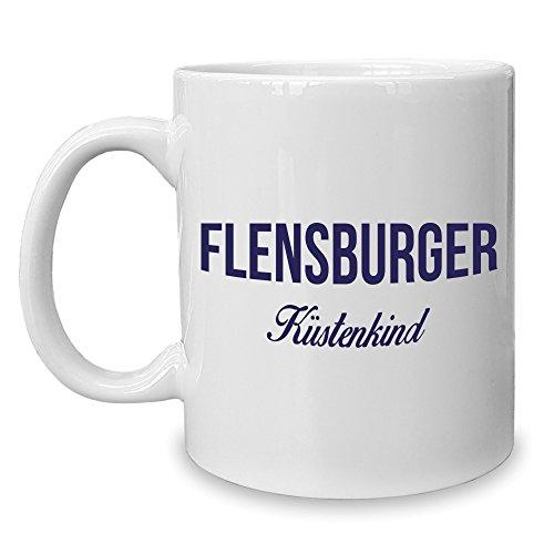 Shirt Department - Kaffeebecher - Tasse - Flensburger Küstenkind weiss-dunkelblau