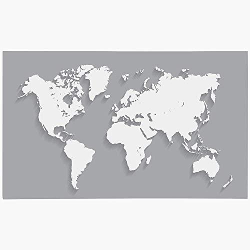 Zome Lag Tapete De Suelo Alfombras De Piso Estera De Entrada Tapete De Ducha,Mapa del Mundo Tierra En Gris Norte Planeta Océano 3D Negocio Continente Geografía Finanzas Global