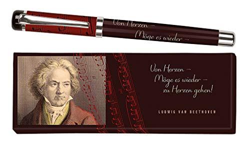 moses. libri_x Tintenroller Ludwig van Beethoven | Tintenschreiber mit austauschbarer blauer Mine | In einer Geschenkschachtel