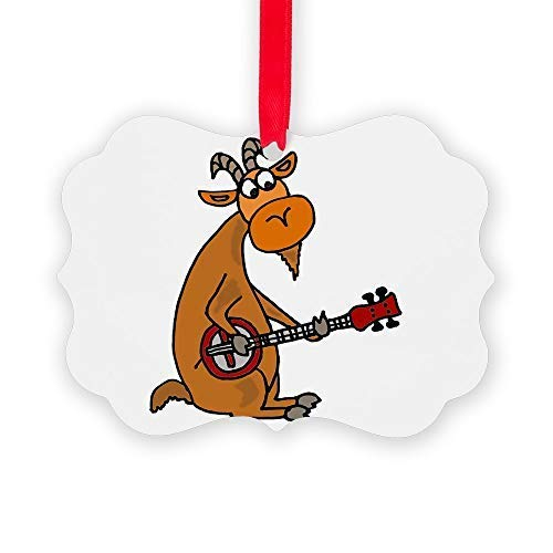 Montrwie Goat Playing Banjo Acrylic Christmas Ornaments,Christmas Tree Decoration Ornaments,Keepsake Ornament