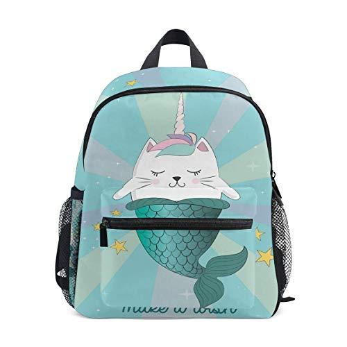 Unisex Rucksack,Travel Daypack,High School Bookbag Bag,Laptop Backpacks for Men Women Cute Cat Unicorn Mermaid