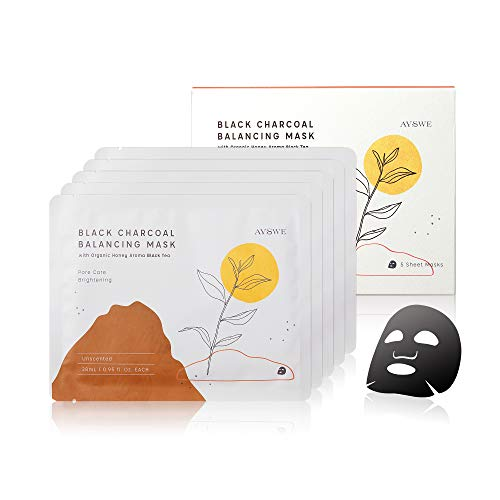 Unscented Organic Black Tea & Vitamin C Black Charcoal Balancing Face Mask Sheet for Women & Men, Hydrating, Brightening & Pore Care, Fragrance Free, Parabens Free, 5 Facial Masks