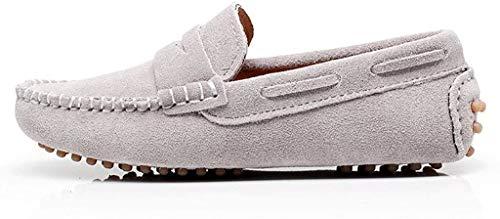 Shenn Chicos Chicas Linda Comodidad Ponerse Ante Cuero Mocasines Zapatos S8884(Gris,EU36)