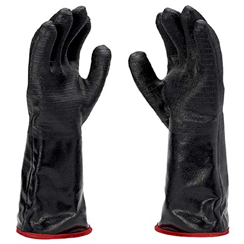 Heavy Duty Grill & Smoker Gloves - 14 Inch Extreme Heat Proof Gloves Can Handle Temperatures Up to 932 Degrees F - Neoprene Coated BBQ Gloves Heat Resistant Cooking are Waterproof & Fireproof