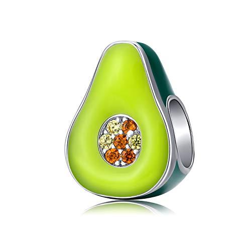 Abalorios de aguacate Plata de ley 925 Esmalte verde Cuentas Charms de fruta compatibles con el collar de pulseras Pandora