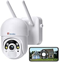 Outdoor Security Camera Battery Powered Pan/Tilt, Ctronics WiFi Wireless Security Camera Wireless for Home Surveillance System with Color Night Vision, PIR and Radar Dual Detection, 2-Way Audio