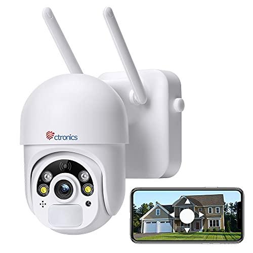 Überwachungskamera Aussen 14400mAh Akku, Ctronics 100% Kabellos PTZ Wlan IP Kamera Outdoor, 355°/95 ° Schwenkbar, PIR und Radar Dualer Erkennung, Farb-Nachtsicht, 2-Wege-Audio, SD-Kartenslot