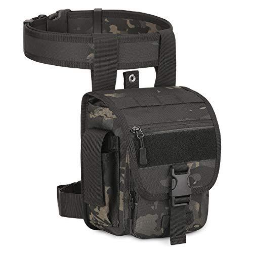 Huntvp® Taktisch Beintasche Militär Beinbeutel MOLLE Hüfttasche Sport Tactical Leg Bag Armee Beintaschen Wasserdicht Gürteltasche Werkzeugtasche Tasche für Bein Herren Outdoor,Typ-3-Camouflage