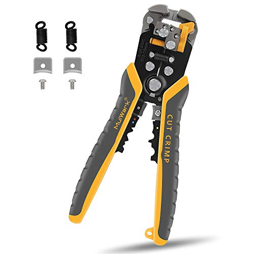 MulWark 3 in 1 Automatic Self Adjusting Wire Stripper/ Cutter/ Crimper, 8 Inch Multi Pliers For Electrical Wire Stripping, Cable Cutting, Crimping Tool from 8 AWG to 30 AWG