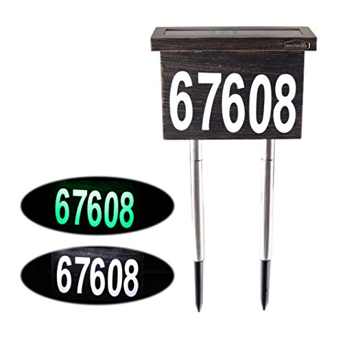 Dual-use Solar House Numbers Light - 2 Lighting Modes Bronze Aluminum Address Sign for House or Yard - 12 LED Light up House Numbers at Night - Waterproof Metal Plaque Stake Outdoor Lights