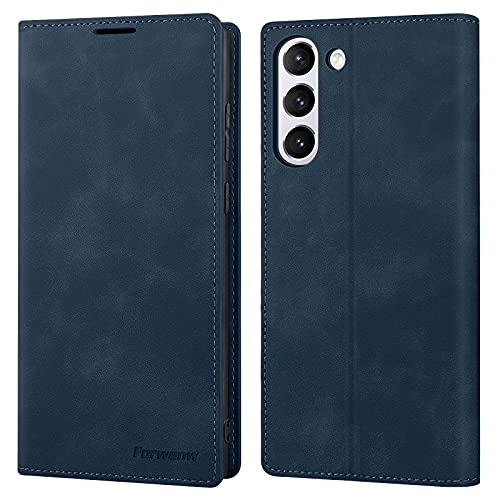Galaxy S21 5g Hülle Leder Hülle Handyhülle Flip Hülles Brieftasche mit Kartensteckplätze Klapphülle Folie Cover Schutzhülle 5G (Blau)
