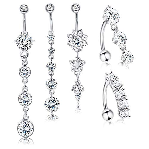 Jstyle 5Pcs 14G Stainless Steel Dangle Belly Button Rings