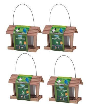 PACK OF 4 - Pennington Classic Cedar Nature's Friend Wild Bird Feeder, 3 lbs Seed Capacity