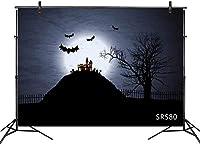 HD ハロウィーンの夜の背景墓地死んだ木城満月バットビニール写真撮影の背景写真スタジオの小道具の装飾お祝いパーティーバナー背景7X5FT