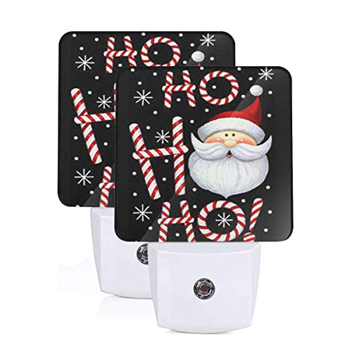 Xmas Snowflake Santa Claus Laugh Night Light Set of 2 Father Christmas Hohoho Led Night Light 0.5 W Auto Senor Dusk to Dawn Night Lights Plug Into Wall