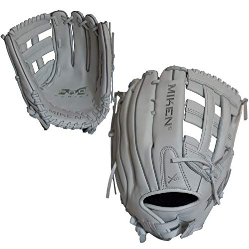 Miken Pro Series Slowpitch Softball Glove, 13 inch, White, Right Hand Throw