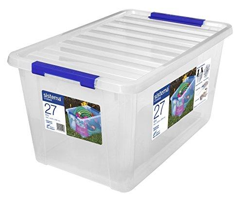 Sistema Storage Large Contenedor, Polipropileno, Plástico, Transparente, 27 litros
