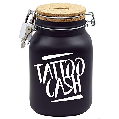 Tattoo Spardose Weissmit Aufschrift Tattoo-Cash Gutschein Geld-Geschenk XL