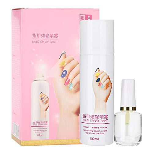 Dry Nail Spray - Spray base per smalto per unghie, spray a rapida essiccazione, spray per unghie facile da lavare 60ml. (Rosso fuoco, rosa e rosso porpora) (Color : Pink)