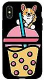 iPhone X/XS Cute Kawaii Boba Bubble Milk Tea with winking Anime Corgi Case