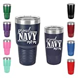 Proud Navy Mom - Engraved Tumbler Wine Mug Cup Unique Funny Birthday Gift Graduation Gifts for Women Mom Mother Mama Mummy veteran army navy marine (30 Ring, Navy