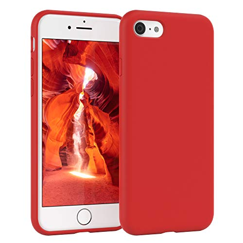 EAZY CASE Premium Silikon Handyhülle kompatibel mit iPhone 7/8 / SE (2020), Slimcover mit Kameraschutz & Innenfutter, Silikonhülle, Schutzhülle, Bumper, Handy Hülle, Hülle, Softcase, Rot