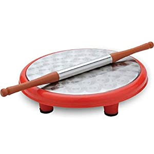 Round Roti Maker Rolling Board with Rolling Pin for Roti/Pizza Maker Daily Use Kitchenware Rolling Board chakla Belan Set - (Red - 11 inch) 13