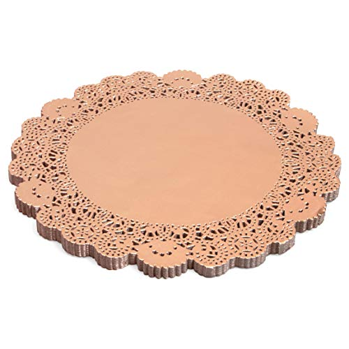 Small Paper Lace Doilies, Pink Foil Placemats (10 in, 100 Pack)