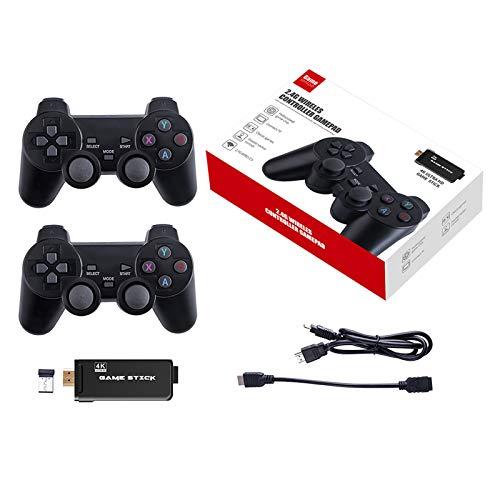 Rendaysa HDMI 4K Game Stick Duplica La Consola De Videojuegos InaláMbrica Sistema De CóDigo Abierto 64GB 10000 Juegos Gratis con Controlador InaláMbrico 2.4G