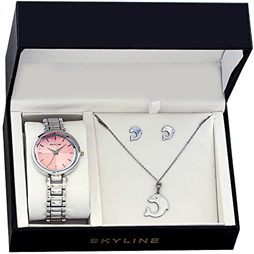 SKYLINE, Conjunto de Accesorios para Mujer, Reloj de Pulsera, Collar y Pendientes con Diseño de Delfín, Acero Inoxidable, Cumpleaños, Aniversario, etc, Color Plateado