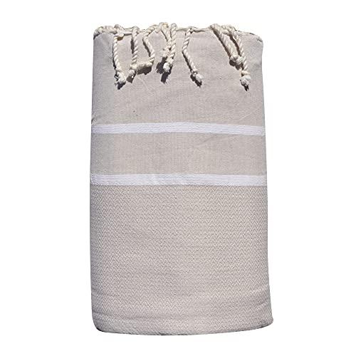 LES POULETTES Big Fouta - Toalla de playa (algodón, 200 x 300 cm), color beige claro