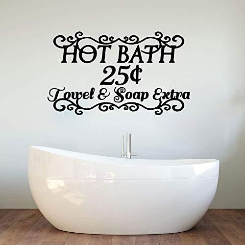 Blrpbc Adhesivos Pared Pegatinas de Pared Toalla de baño Jabón Baño Adicional Lavabo Palabras de baño Cita Baño Vinilo Decoración del hogar 101x59cm