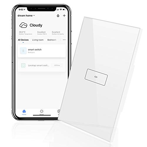 LoraTap WiFi Light Switch, 20A Smart Touch Wall Switch Timer Wireless On Off Remote Control by Mobile App, Compatible with Alexa Echo and Google Home, 2200W, White