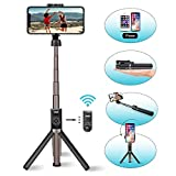 Viixm Perche Selfie Bluetooth Selfie Stick Trépied Télécommande Amovible 3-en-1Rotation 360° Alliage d'Aluminium Support...
