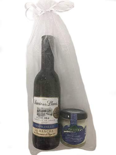 Detalle original con vino y crema de queso de oveja y vaca para regalo en bodas o comuniones