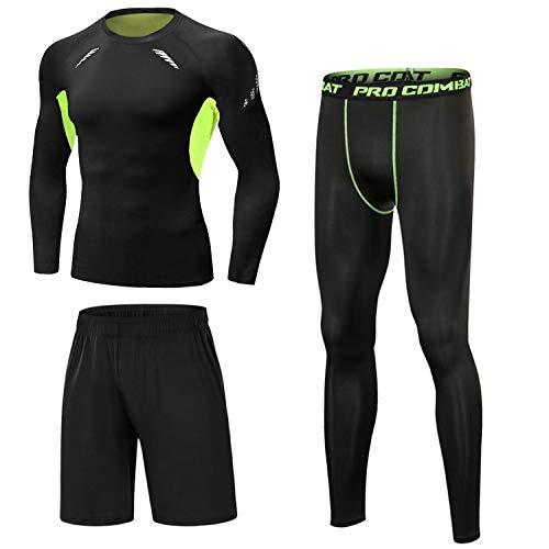 Sykooria Sportbekleidung Herren 3 Stück Kompression Set Schnelltrocknend Atmungsaktiv Lauf Set Kleidung