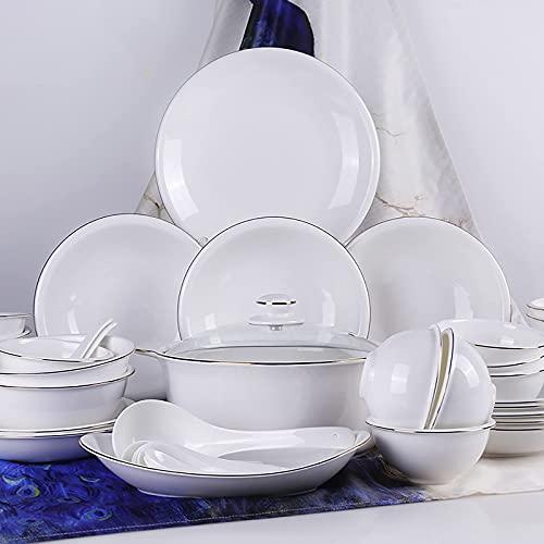 Juego de vajilla de Porcelana de 56 Piezas, Porcelana Fina para el hogar, Cocina, Juego de vajilla con tazones de Cereales Redondos Blancos, Platos, Olla de Sopa con Borde Dorado, Servicio p