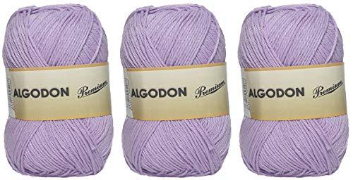Gomitolo di Cotone Premium 100% Cotone Perfetto per Il Fai da Te e Il Lavoro a Mano (Colore Lilla 100 g, Circa 220 Metri Confezione da 3 Pezzi)