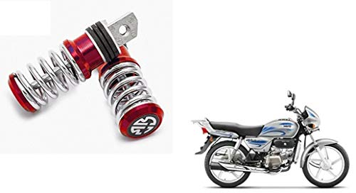Skynex Red Spring Coil Style Bike Foot Pegs Foot Rest ped Set of 2 Hero Splendor Plus i3s