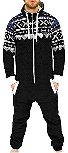 Juicy Trendz® Hommes Grenouillère Capuche Combinaison pour Adultes Tout en Un Onesie Une pièce Pyjamas