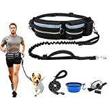 """Hands Free Dog Leash, Dog Walking Belt with Shock Absorbing Bungee Leash for up to 180lbs Large Dogs, Fits All Waist Sizes from 28"""" to 47"""", 5 Piece Value Set for Running Jogging Training Hiking"""