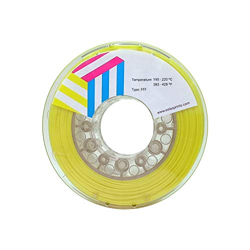 Eolas Prints | Filamento PLA 1.75 | Impresora 3D | Fabricado en España | Apto para uso alimentario y crear juguetes y envases | 1,75mm | 250gr | Amarillo