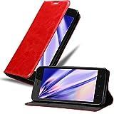 Cadorabo Hülle für WIKO Sunny 3 - Hülle in Apfel ROT – Handyhülle mit Magnetverschluss, Standfunktion & Kartenfach - Hülle Cover Schutzhülle Etui Tasche Book Klapp Style