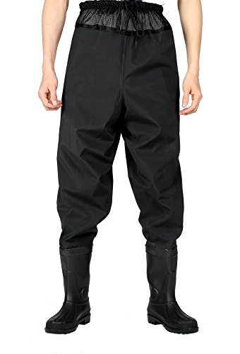 CaoBin Fishing Wading Pants with Shoes to Waist Waterproof Hip Waders Chest Waders (Black 12)