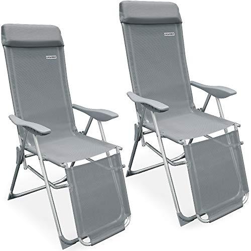 Casaria Set de 2 sillas Plegables de Aluminio con Respaldo Alto reclinable Transpirable Tumbona para jardín balcón terraza
