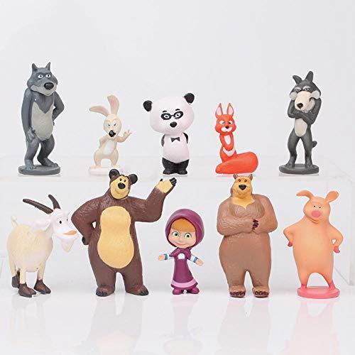 zdfgv 10 unids/Set Masha & Friends Juguetes de Dibujos Animados Regalos de cumpleaños Figuras de Oso Juguetes Masha Modelos de PVC Figura de Anime 4-6 cm